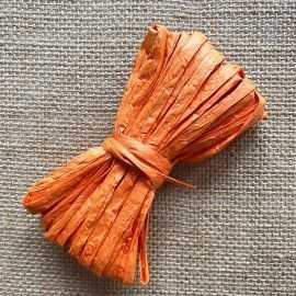 Raphia naturel orange spécial déco 10 mètres