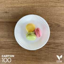 100 Assiettes carton biodégradables 15 cm