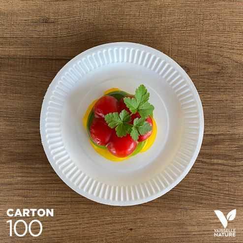 100 Assiettes carton biodégradables 18 cm