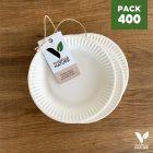 Pack 400 assiettes carton biodégradables 15 cm
