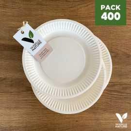 Pack 400 assiettes carton biodégradables 18 cm