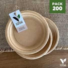 Pack 200 assiettes kraft 17cm biodégradables