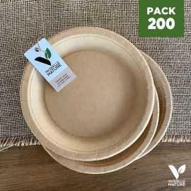 Pack 200 assiettes kraft 22cm biodégradables