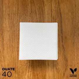 40 Serviettes blanches 20 x 20cm biodégradables - compostables