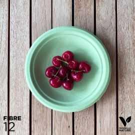 12 Assiettes 100 % fibres Bio vert pastel 18 cm