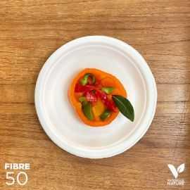 50 Assiettes 100 % fibres Bio blanches rondes 17cm