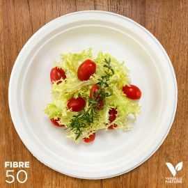 50 Assiettes 100 % fibres Bio blanches rondes 26cm