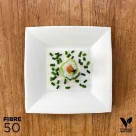 50 Assiettes 100% fibres Bio blanches carrées plates 18 cm