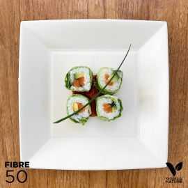50 Assiettes 100% fibres Bio blanches carrées plates 23 cm