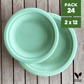 Pack 24 Assiettes fibres Bio vert pastel 18/23cm