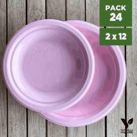 Pack 24 assiettes fibres Bio rose pastel 18/23cm