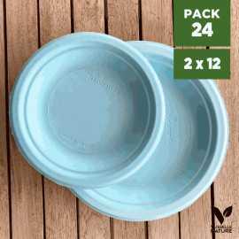 Pack 24 assiettes fibres Bio bleu pastel 18/23cm