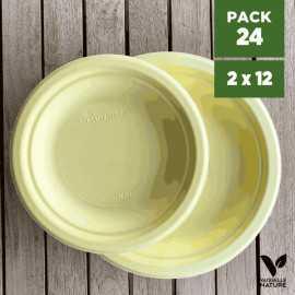 Pack 24 assiettes fibres Bio jaune pastel 18/23cm