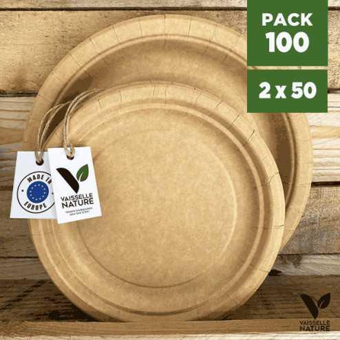 Pack 100 Assiettes kraft 17/22cm Biodégradables - compostables