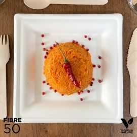 50 assiettes 100 % fibres Bio blanches carrées 20cm