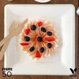 50 Assiettes 100 % fibres Bio blanches carrées 26cm