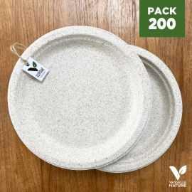 Pack 200 Assiettes pulpe de blé biodégradables 23 cm