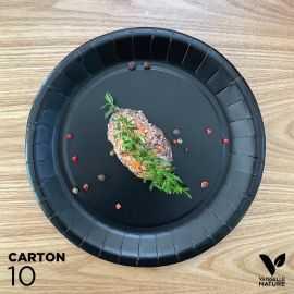 10 Assiettes biodégradables carton noir 22 cm