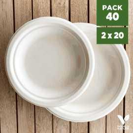 Pack 40 assiettes fibres Bio blanc 18/23cm