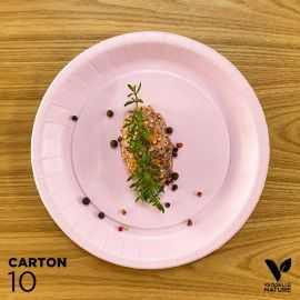 10 Assiettes biodégradables carton rose 22 cm