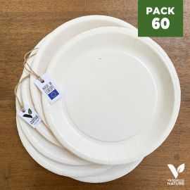 Pack 60 assiettes carton blanches 22cm 100% Biodégradables