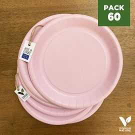 Pack 60 assiettes carton rose 22cm 100% Biodégradables