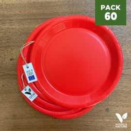 Pack 60 assiettes carton rouges 22cm 100% Biodégradables