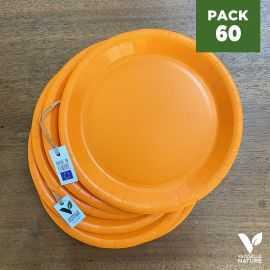 Pack 60 assiettes carton orange 22cm 100% Biodégradables