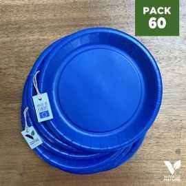 Pack 60 assiettes carton bleues 22cm 100% Biodégradables