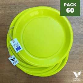 Pack 60 assiettes carton vert 22cm 100% Biodégradables