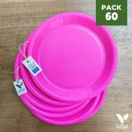Pack 60 assiettes carton fuchsia 22cm 100% Biodégradables