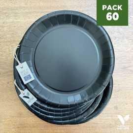 Pack 60 assiettes carton noir 22cm 100% Biodégradables