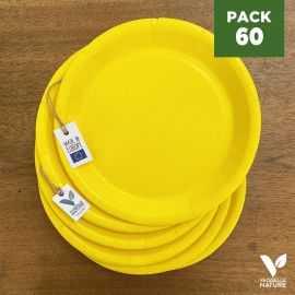 Pack 60 assiettes carton jaune 22cm 100% Biodégradables