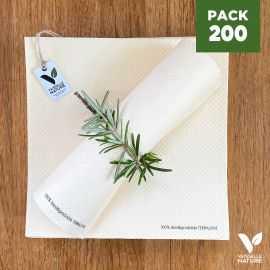 Pack 200 serviettes 40cm blanches Biodégradables - compostables
