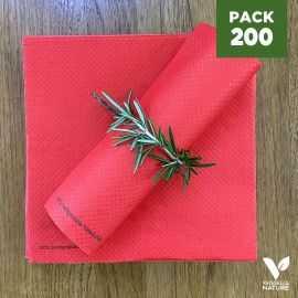Pack 200 serviettes 40cm rouges Biodégradables - compostables