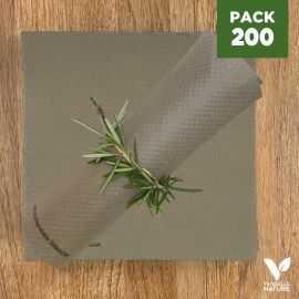Pack 200 serviettes 40cm grège Biodégradables - compostables