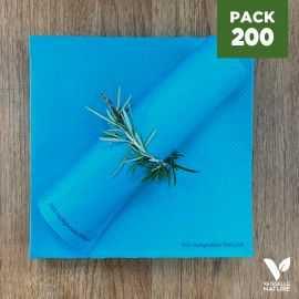 Pack 200 seviettes 40cm bleues Biodégradables - compostables