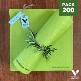 Pack 200 serviettes 40cm Anis Biodégradables - compostables
