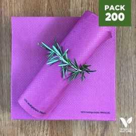 Pack 200 serviettes 40cm Prune Biodégradables - compostables