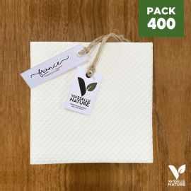 Pack 400 serviettes 20cm blanches Biodégradables - compostables