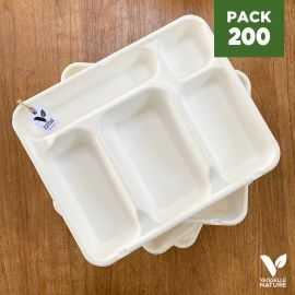 Pack 200 plateaux repas Biodégradables 5 cases
