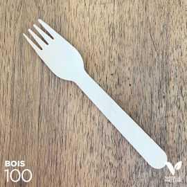 100 fourchettes bois 16cm biodégradables - compostables