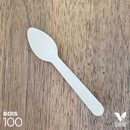 100 Petites cuillères bois 11cm biodégradable - compostables