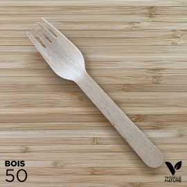 50 Fourchettes bois 16,5cm biodégradables - compostables
