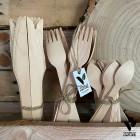Pack 150 couverts bois Fourchettes + Couteaux + Petites cuillères
