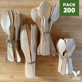 Pack 200 Couverts bois Fourchettes + Couteaux + Grandes cuillères + Petites cuillères