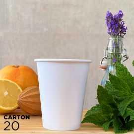 20 Gobelets 25cl blancs 100% bio et compostables