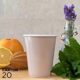 20 Gobelets 25cl taupe 100% bio et compostables