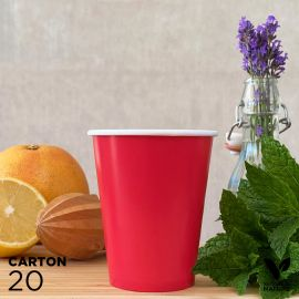 20 Gobelets 25cl rouges 100% bio et compostables