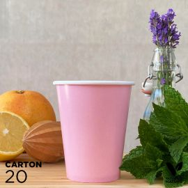 20 Gobelets 25cl roses 100% bio et compostables